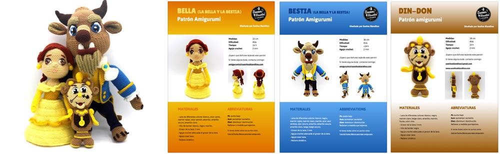 Patrones Bella, Bestia y Din-Don amigurumis