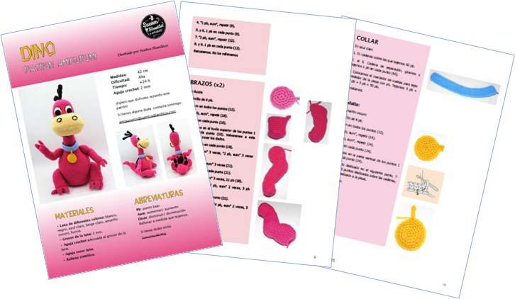 Imagen del Patrón en pdf para tejer a Dino